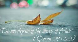 Warning against despair of the Mercy of Allah